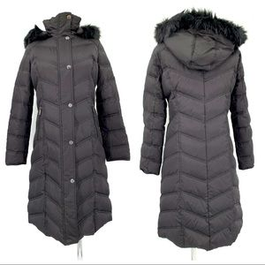 Kenneth Cole Black Hooded Long Down Puffer Jacket